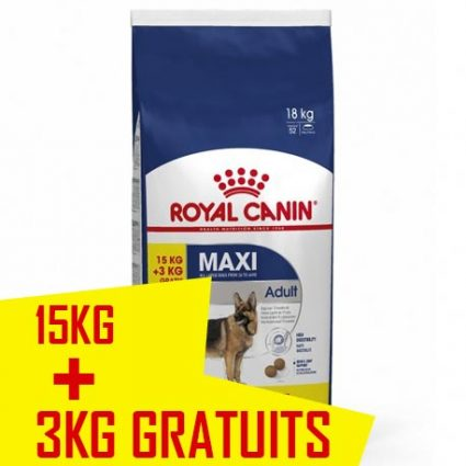 Royal canin chient adult MAXI 15 kg + 3 offerts