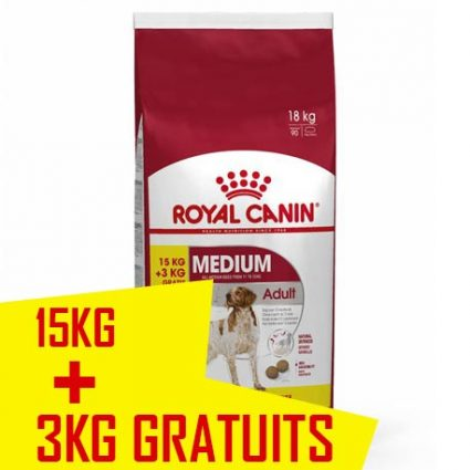 Royal canin chien adult MEDIUM 15 kg + 3 offerts