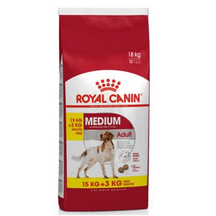 Royal Canin Medium Adult 15 kg + 3 kg GRATUITS