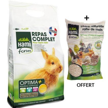 HAMIFORM repas complet pour lapin nain + 1 litière OFFERTE