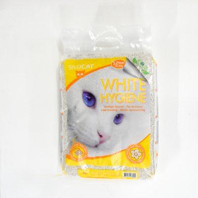 White hygiene litière